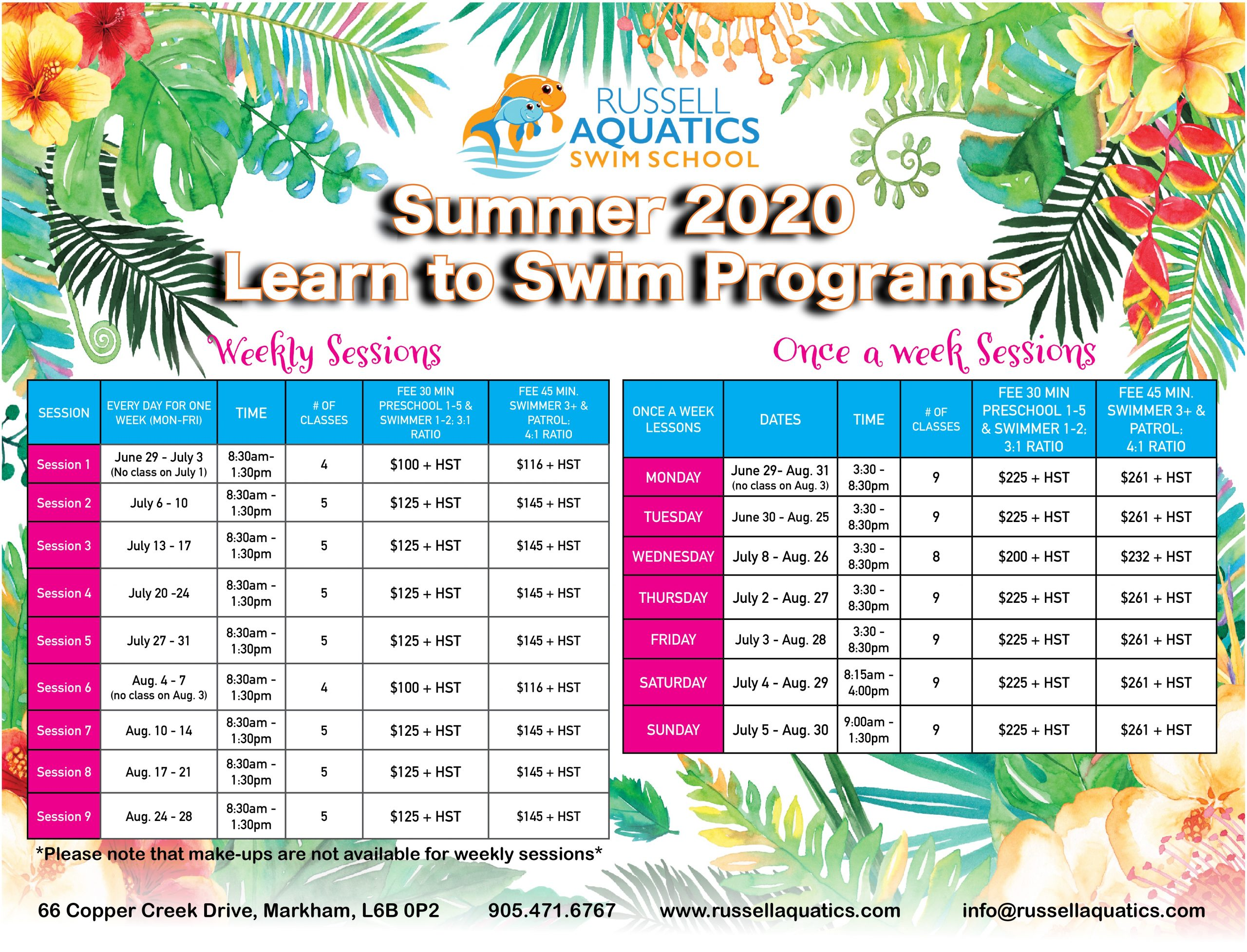 Swim Summer Schedule Russell Aquatics